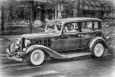 Mixed Media - 1932 Nash Sedan by John Haldane