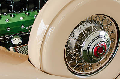1932 Packard Dual Cowl Phaeton Engine - Spare Tire Art Print