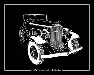 Volumes Drawing - 1932 Packard Light Eight by Jack Pumphrey