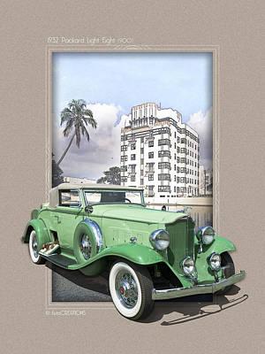 Art 2013 Digital Art - 1932 Packard Light Eight by Roger Beltz