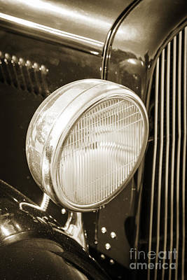 Photograph - 1932 Plymouth Headlight Or Head Light In Sepia 3046.01 by M K  Miller