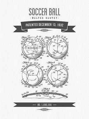 Football Royalty-Free and Rights-Managed Images - 1932 Soccer Ball Patent Drawing - Retro Gray by Aged Pixel
