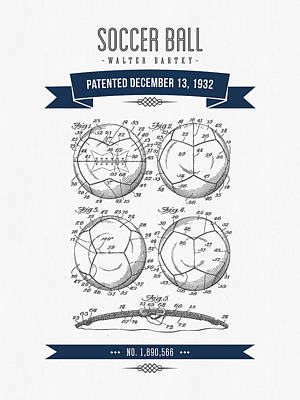 Football Royalty-Free and Rights-Managed Images - 1932 Soccer Ball Patent Drawing - Retro Navy Blue by Aged Pixel