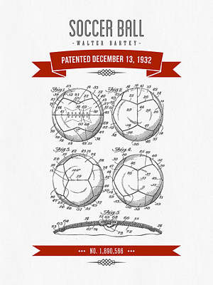 Football Royalty-Free and Rights-Managed Images - 1932 Soccer Ball Patent Drawing - Retro Red by Aged Pixel