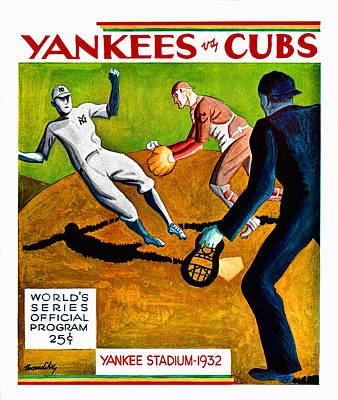Chicago Cubs Stadium Painting - 1932 World Series Program by Big 88 Artworks