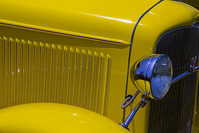 Headlight Photograph - 1932 Yellow Ford Coupe by Garry Gay