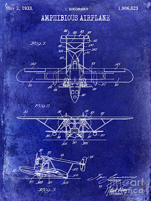 Blue Airplane Photograph - 1933 Amphibious Airplane  Patent Drawing Blue by Jon Neidert