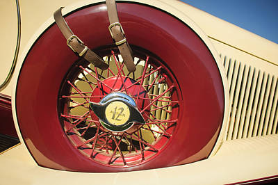 Art Print featuring the photograph 1933 Auburn 12-161a Custom Speedster Spare Tire Emblem by Jill Reger