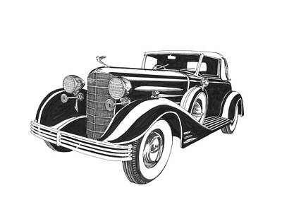 1933 Cadillac Victoria V 16 Convertible Art Print by Jack Pumphrey