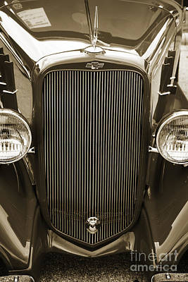 Photograph - 1933 Chevrolet Chevy Sedan Classic Car Grill In Sepia 3167.01 by M K  Miller