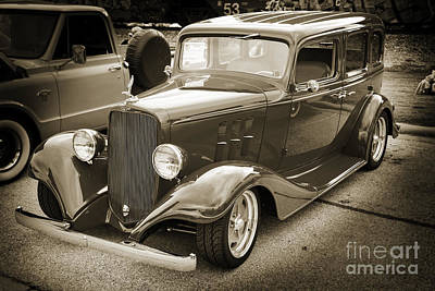 Photograph - 1933 Chevrolet Chevy Sedan Classic Car In Sepia 3165.01 by M K  Miller