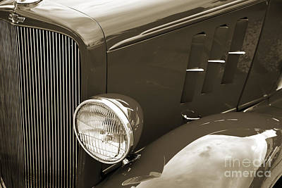 Photograph - 1933 Chevrolet Chevy Sedan Fender Of Classic Car In Sepia 3164.0 by M K  Miller
