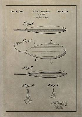 Animals Drawings - 1933 Fish Lure Patent by Dan Sproul