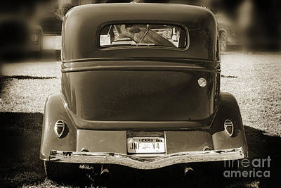 Photograph - 1933 Ford Vicky Automobile Back End Side In Sepia 3028.01 by M K  Miller