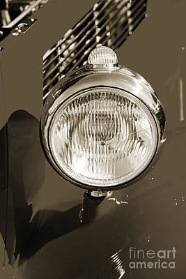 Photograph - 1933 Ford Vicky Automobile Headlight In Sepia 3026.01 by M K  Miller