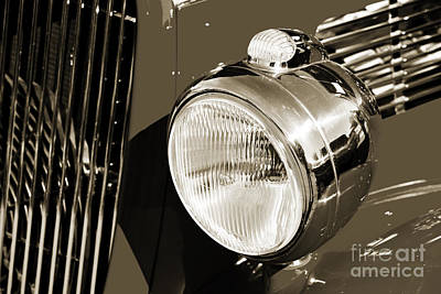 Photograph - 1933 Ford Vicky Automobile Headlight In Sepia 3027.01 by M K  Miller