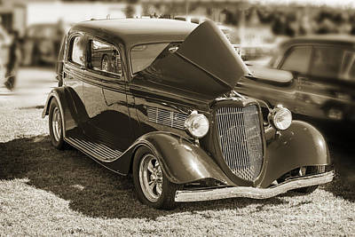 Photograph - 1933 Ford Vicky Automobile In Sepia Color 3023.01 by M K  Miller