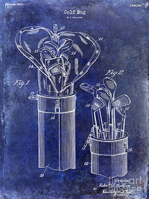 1933 Golf Bag Patent Drawing Blue Art Print