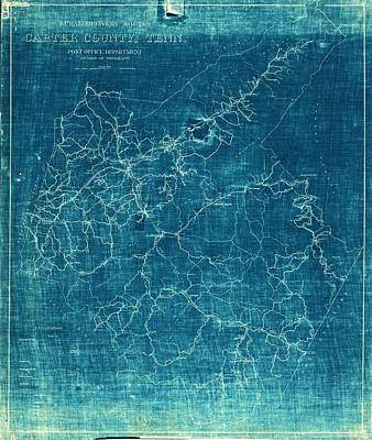 Tennessee Map Drawing - 1933 Map Of Carter County Tennessee by Cody Cookston