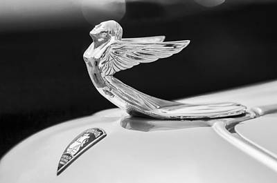 Photograph - 1933 Plymouth Hood Ornament -0121bw by Jill Reger