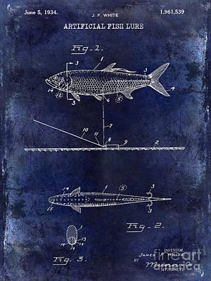 Cape Cod Photograph - 1934 Artificial Fish Lure Patent Drawing Blue by Jon Neidert