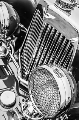 Photograph - 1934 Aston Martin Mark II Short Chassis 2-4 Seater - Grille Emblem -0867bw by Jill Reger