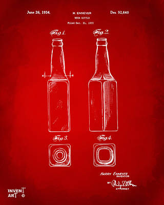 1934 Beer Bottle Patent Artwork - Red Art Print by Nikki Marie Smith
