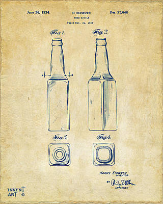 Liquor Digital Art - 1934 Beer Bottle Patent Artwork - Vintage by Nikki Marie Smith