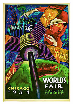 Mixed Media - 1934 Chicago Worlds Fair - Vintage Travel Art by Presented By American Classic Art