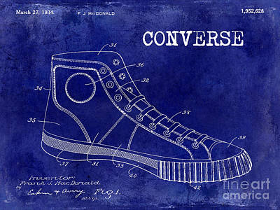 Conversing Photograph - 1934 Converse Shoe Patent Drawing Blue by Jon Neidert