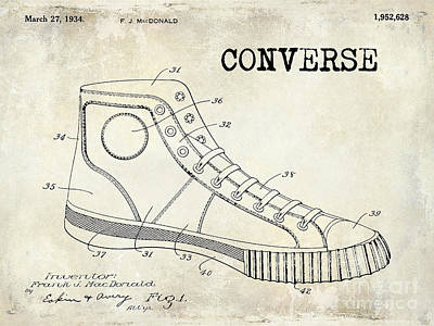 Tennis Shoes Photograph - 1934 Converse Shoe Patent Drawing by Jon Neidert