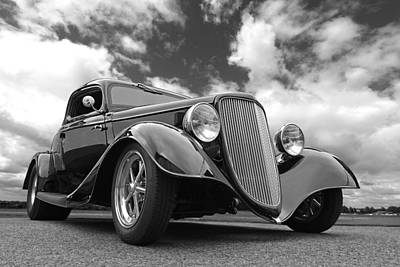 Vintage Hot Rod Photograph - 1934 Ford Coupe In Black And White by Gill Billington