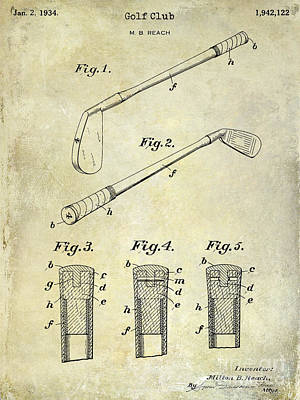 1934 Golf Club Patent Drawing Art Print