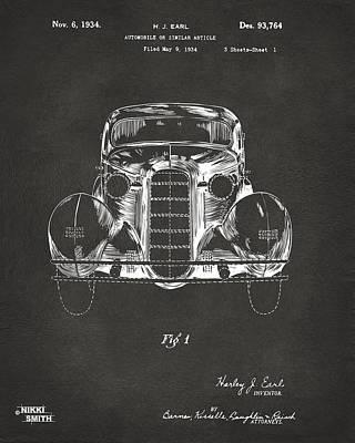 Cave Digital Art - 1934 La Salle Automobile Patent 1 Artwork - Gray by Nikki Marie Smith