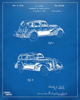 Cave Digital Art - 1934 La Salle Automobile Patent Artwork 2 - Blueprint by Nikki Marie Smith