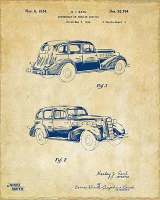 Cave Digital Art - 1934 La Salle Automobile Patent Artwork 2 - Vintage by Nikki Marie Smith