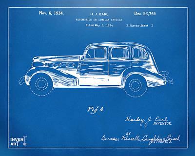 Vintage Auto Digital Art - 1934 La Salle Automobile Patent 3 Artwork Blueprint by Nikki Marie Smith