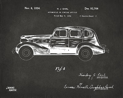 Vintage Auto Digital Art - 1934 La Salle Automobile Patent 3 Artwork - Gray by Nikki Marie Smith