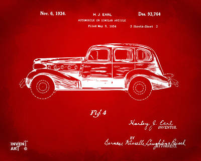 Digital Art - 1934 La Salle Automobile Patent 3 Artwork Red by Nikki Marie Smith