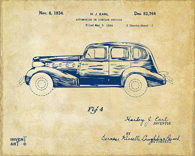 Digital Art - 1934 La Salle Automobile Patent 3 Artwork Vintage by Nikki Marie Smith