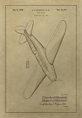 Airplane Mixed Media - 1934 Mail Plane Patent by Dan Sproul