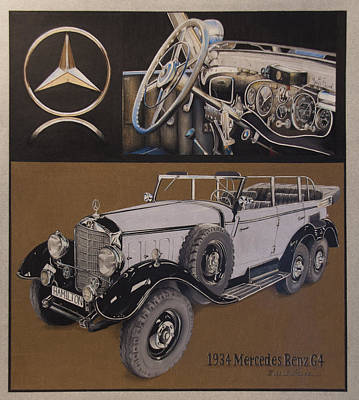 Mercedes Automobile Drawing - 1934 Mercedes Benz by Mario Basinger