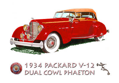 Brake Painting - 1934 Packard V-12 Dual Cowl Phaeton by Jack Pumphrey