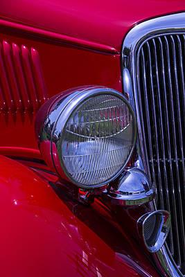 Headlight Photograph - 1934 Red 2-door Sedan by Garry Gay