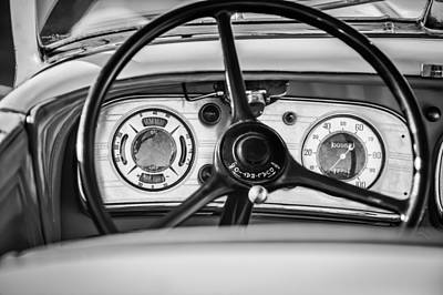 Photograph - 1935 Auburn 851 Supercharged Boattail Speedster Steering Wheel -0862bw by Jill Reger