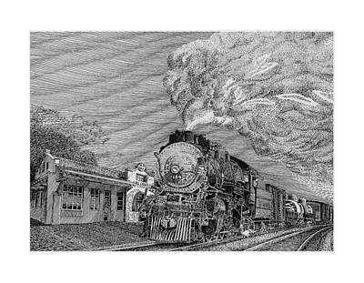 New Mexico Drawing - 1935 Baldwin Locomotive 2442 by Jack Pumphrey