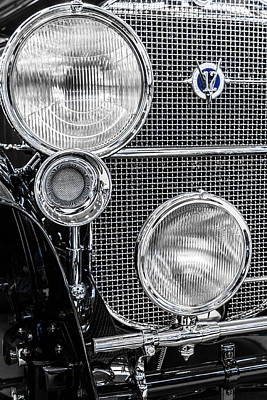Photograph - 1935 Cadillac V12 Roadster Emblem And Headlights 2 by Ron Pate