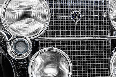 Photograph - 1935 Cadillac V12 Roadster Emblem And Headlights 1 by Ron Pate