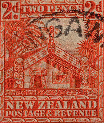 Photograph - 1935 Carved Maori House New Zealand Stamp by Bill Owen