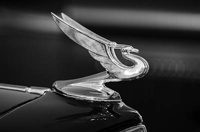 Car Mascots Photograph - 1935 Chevrolet Sedan Hood Ornament -479bw by Jill Reger